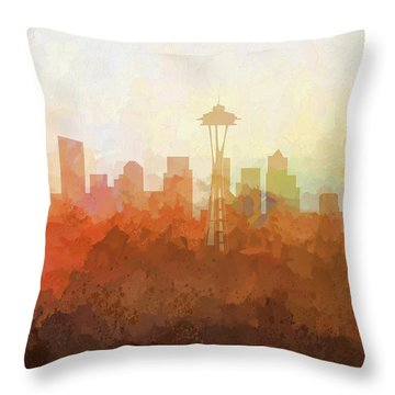 Throw Pillow featuring the digital art Seattle Washington Skyline by Marlene Watson
