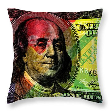 Benjamin Franklin - Full Size $100 Bank Note Throw Pillow
