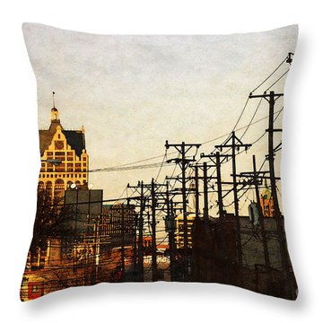 Throw Pillow featuring the digital art 100 East Wisconsin by David Blank