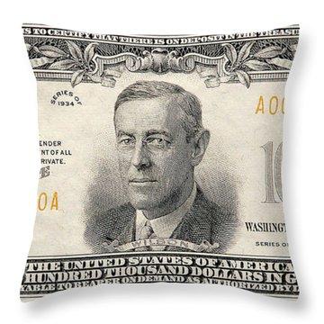 $100,000 Bill Circa 1934 Throw Pillow