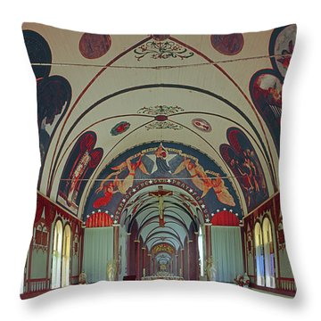 Throw Pillow featuring the photograph 100905 Star Of The Sea Painted Church Hi by Ed Cooper Photography