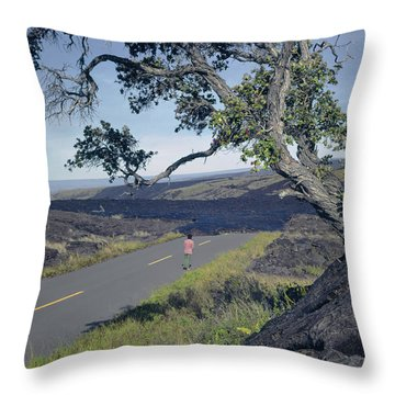 Throw Pillow featuring the photograph 100924 Lava Covered Road Hi by Ed Cooper Photography