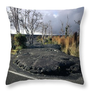 Throw Pillow featuring the photograph 100925 Lava Flow On Road Hi by Ed Cooper Photography