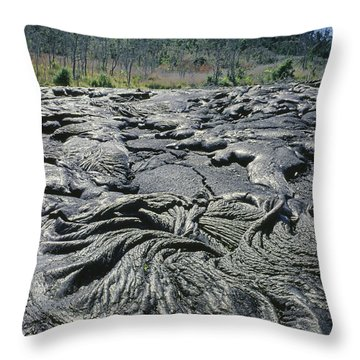 Throw Pillow featuring the photograph 100964 Lava Flow Patterns Hi by Ed Cooper Photography