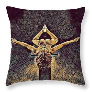 1038s-zac Dancer Flying On Pedestal Nudes In The Style Of Antonio Bravo  Throw Pillow