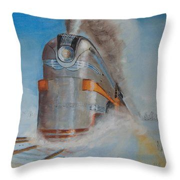 104 Mph In The Snow Throw Pillow by Christopher Jenkins