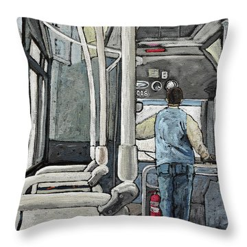 107 Bus On A Rainy Day Throw Pillow