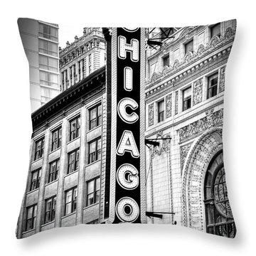 1077 Chicago Theater Black And White Throw Pillow