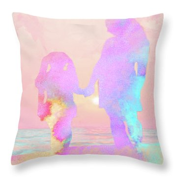 10876 Sunset With Mom Throw Pillow by Pamela Williams