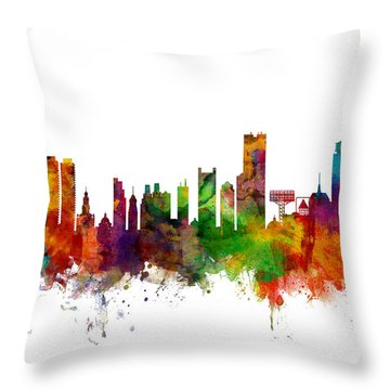 Boston Massachusetts Skyline Throw Pillow