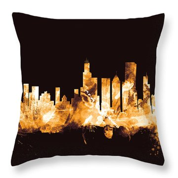 Chicago Illinois Skyline Throw Pillow by Michael Tompsett