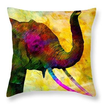 Elephant Throw Pillow by Elena Kosvincheva
