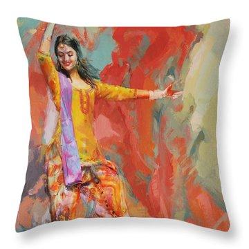 11 Pakistan Folk Punjab Throw Pillow by Maryam Mughal
