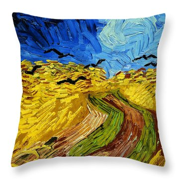 Wheatfield With Crows Throw Pillow