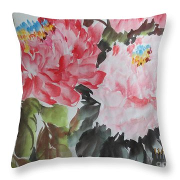 Throw Pillow featuring the painting 11192015-0756 by Dongling Sun