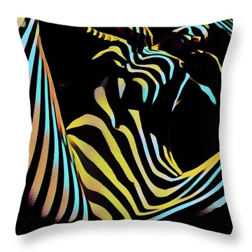1149s-ak Dramatic Zebra Striped Woman Rendered In Composition Style Throw Pillow