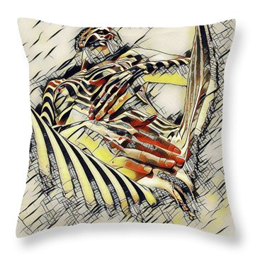 1177s-ak Abstract Nude Her Fingers On Pubis Erotica In The Style Of Kandinsky Throw Pillow