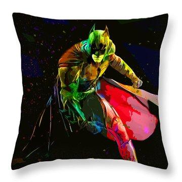 Batman Throw Pillow by Elena Kosvincheva