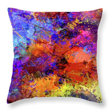 Throw Pillow featuring the painting Abstract Composition by Samiran Sarkar