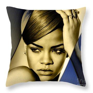 Rihanna Collection Throw Pillow by Marvin Blaine