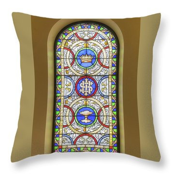 Throw Pillow featuring the digital art Saint Anne's Windows by Jim Proctor