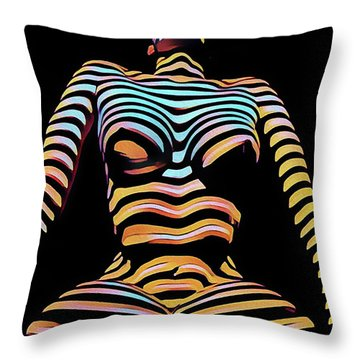 1205s-mak Seated Figure Zebra Striped Nude Rendered In Composition Style Throw Pillow
