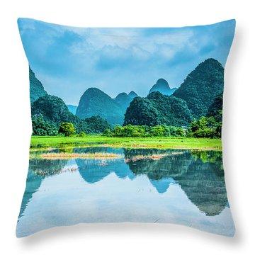 Karst Rural Scenery In Raining Throw Pillow