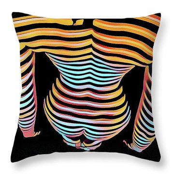 1262s-mak Woman's Strong Shoulders Back Hips Rendered In Composition Style Throw Pillow