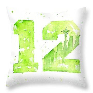 12th Man Seahawks Art Go Hawks Throw Pillow