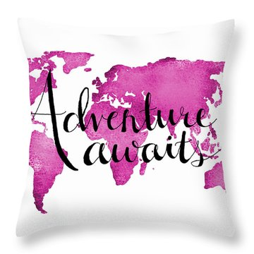 12x16 Adventure Awaits Pink Map Throw Pillow by Michelle Eshleman