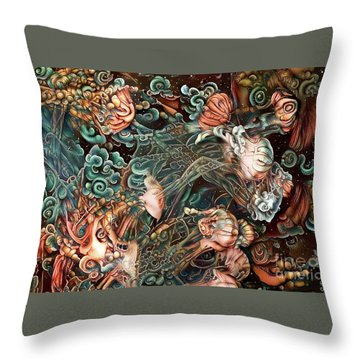 Abstract Jellyfish Throw Pillow