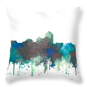 Throw Pillow featuring the digital art Albuquerque New Mexico Skyline by Marlene Watson
