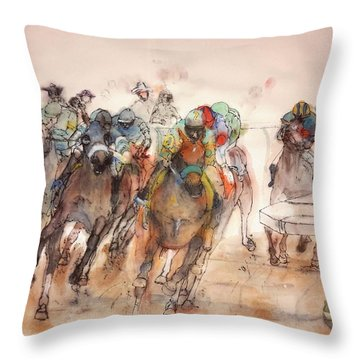 Throw Pillow featuring the painting American  Pharaoh  Album  by Debbi Saccomanno Chan
