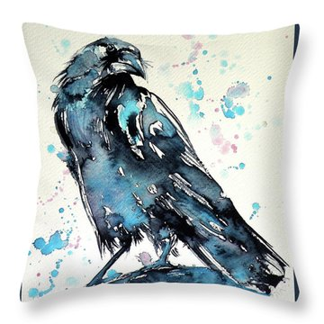 Throw Pillow featuring the painting Crow by Kovacs Anna Brigitta