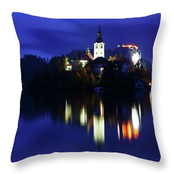 Dusk Over Lake Bled Throw Pillow