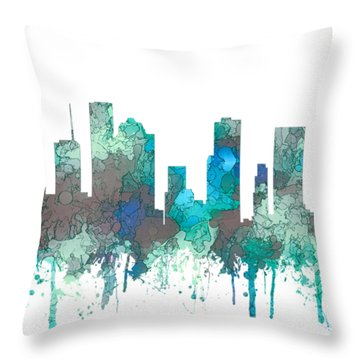 Throw Pillow featuring the digital art Houston Texas Skyline by Marlene Watson
