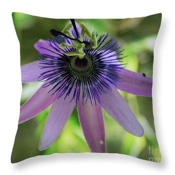 Purple Passiflora Throw Pillow by Elvira Ladocki