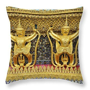 Temple In Grand Palace Bangkok Thailand Throw Pillow