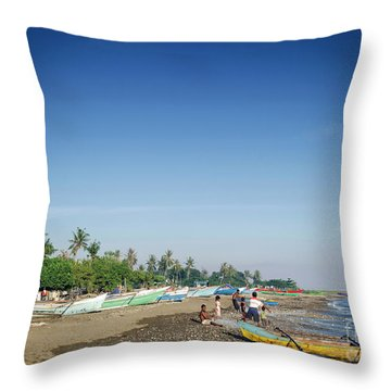 Traditional Fishing Boats On Dili Beach In East Timor Leste Throw Pillow