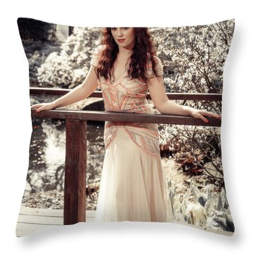 Woman In Spring Blossom Throw Pillow