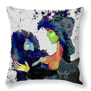 130 - Elfin  Baby Love With Cat   Throw Pillow by Irmgard Schoendorf Welch