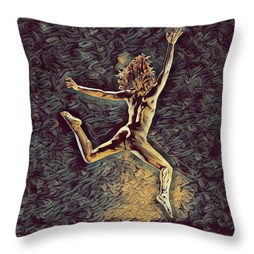 1307s-dancer Leap Fit Black Woman Bare And Free Throw Pillow