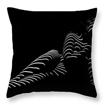 1370-tnd Zebra Woman Striped Woman Black And White Abstract Photo By Chris Maher Throw Pillow