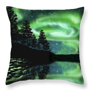 Throw Pillow featuring the photograph Aurora Borealis by Setsiri Silapasuwanchai