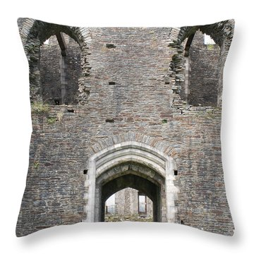 Caerphilly Castle Throw Pillow by Carol Ailles