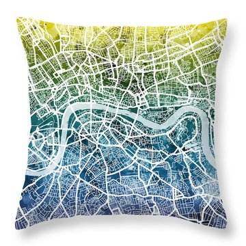 London England Street Map Throw Pillow
