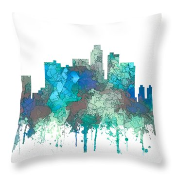 Throw Pillow featuring the digital art Los Angeles California Skyline by Marlene Watson