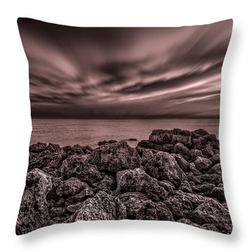 Sunst Over The Ocean Throw Pillow