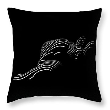 1400-tnd Zebra Woman Thin Striped Woman Black And White Abstract Photo By Chris Maher Throw Pillow