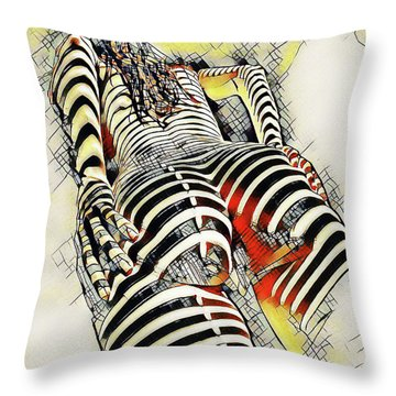 1457s-ak Rear View Nude Erotica In The Style Of Kandinsky Throw Pillow
